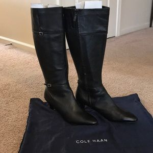 New Cole Haan Black Leather Dress Boots Sz 11M
